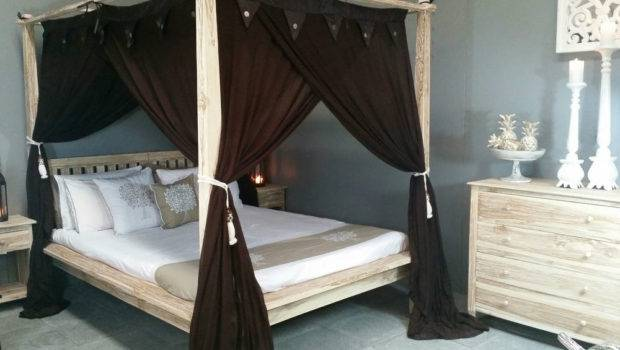 Four Poster Bed Brown Canopy Mosquito Curtain King