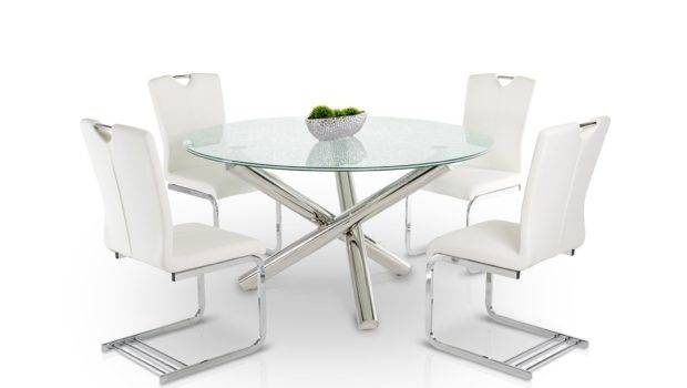 Frau Modern Round Cracked Glass Dining Table