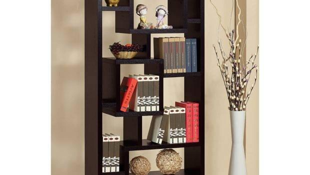 Furniture America Unique Wood Bookcase Display Cabinet
