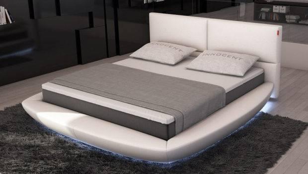 Furniture Contemporary Bedroom Lia Modern Bed Led Lights