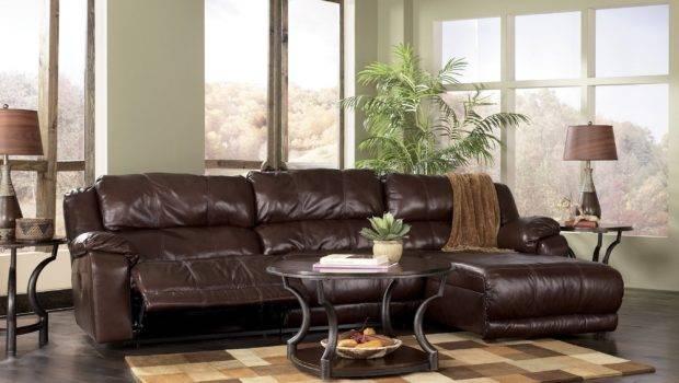 Furniture Living Room Shaped Espresso Leather Sleeper Sofa