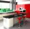 Furniture Modern Kitchen Red Cabinets Black White Decosee