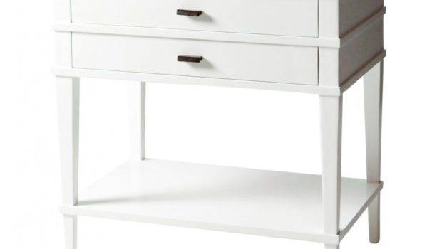Furniture White Solid Wood Nightstand Square Top