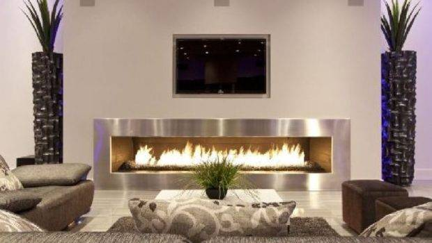 Futuristic Fireplace Interior Design Living Room Indoor Plant Modern
