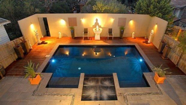 Geometric Pool Design Using Slate Decking Ground