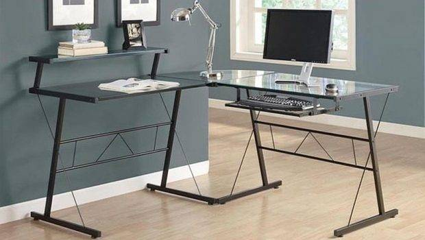 Glass Computer Desk Black Metal Shaped Tempered