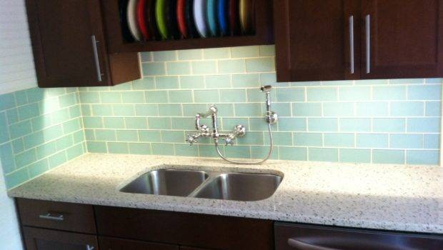Glossy White Glass Subway Tile Kitchen Backsplash