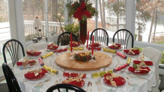 Golden Red Green Color Decorations Festive Christmas Table