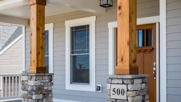 Gorgeous Front Porch Wood Stone Columns Home
