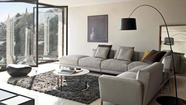 Gray Sectional Sofa Cream Walls Living Room Round Coffee Table