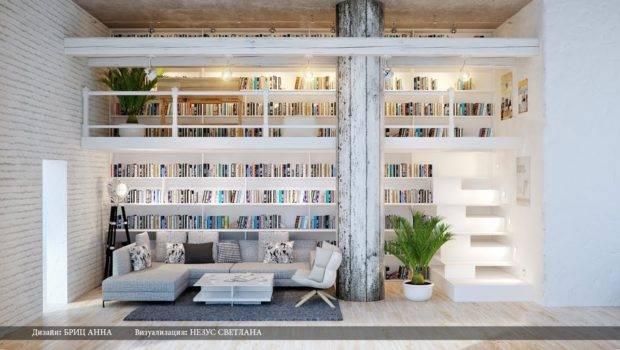 Gray White Dual Level Home Library Interior Design Ideas