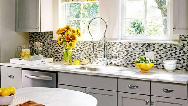 Gray Yellow Kitchen Contemporary Bhg