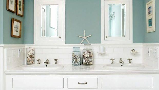 Green Glass Bath Accessories Beach Bathroom Paint Color