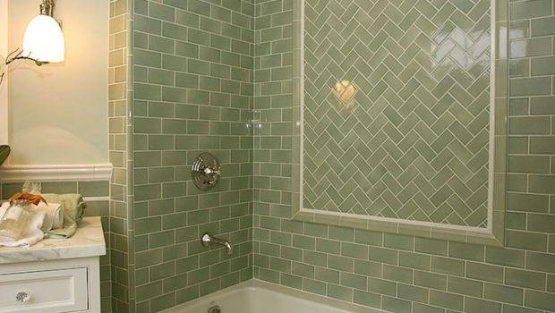 Green Subway Tiles Transitional Bathroom Morrow