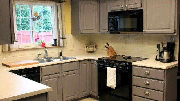 Grey Painted Kitchen Cabinets Small Space
