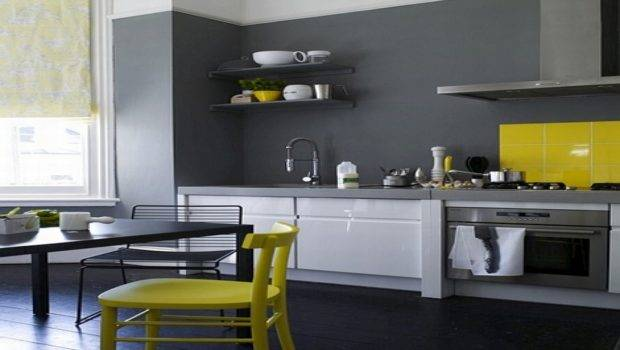 Grey Wall Designs Cottage Kitchens Yellow Gray