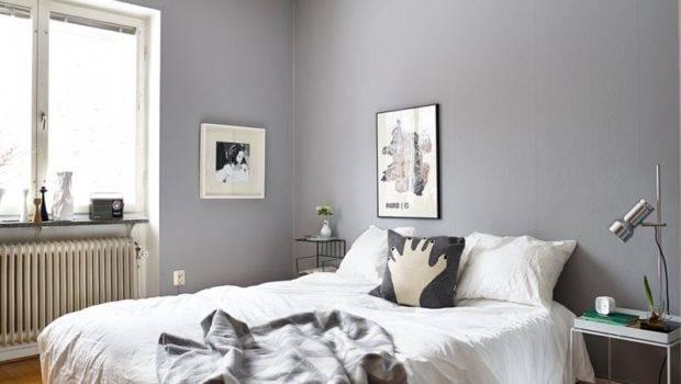 Grey Walls Scandinavian Bedroom