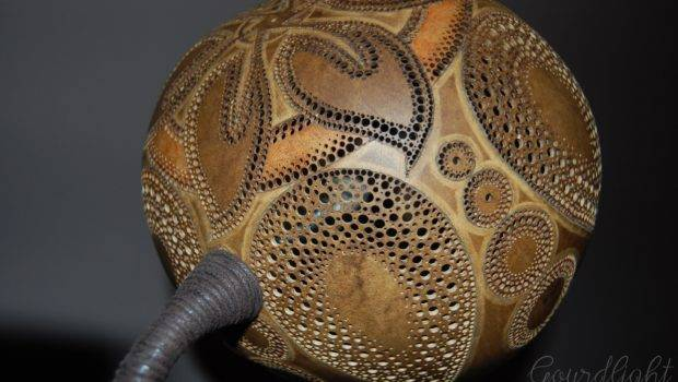 Handcrafted Gourd Lamp Table Gourdlight Art