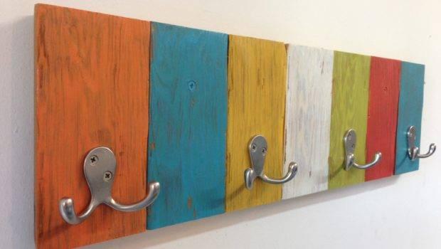Handmade Kids Coat Hook Rack Vibrant Fun Colors Perfect