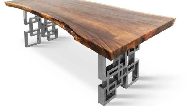Hardwood Dining Table Polished Custom Stainless Steel Legs Yelp
