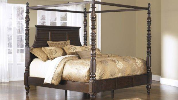 Home Beds Bedroom Complete Key Town Queen Poster Bed Canopy