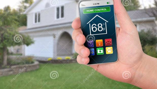 Home Control Smart Phone Monitoring Illustration