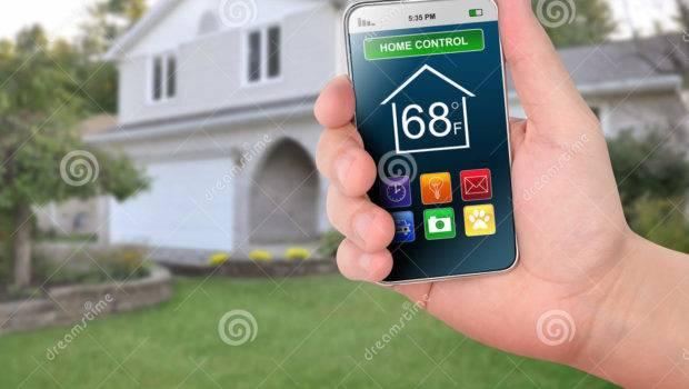 Home Control Smart Phone Monitoring Illustration