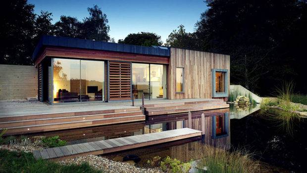 House Lake Tranquil Forest Sustainable Modern
