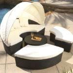 Huge Wicker Rattan Outdoor Sun Lounger Canopy Day Bed Patio Set