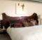 Ideas Brown Wooden Headboard Desklamp Cream Wall Paint Bedroom Design