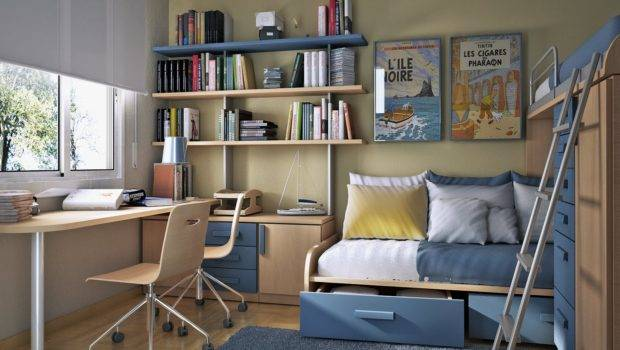 Ideas Small Floorspace Kids Rooms Bunk Bed Blue Design