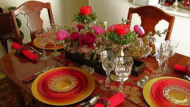 Ikebana Desert Christmas Dinner Table Setting