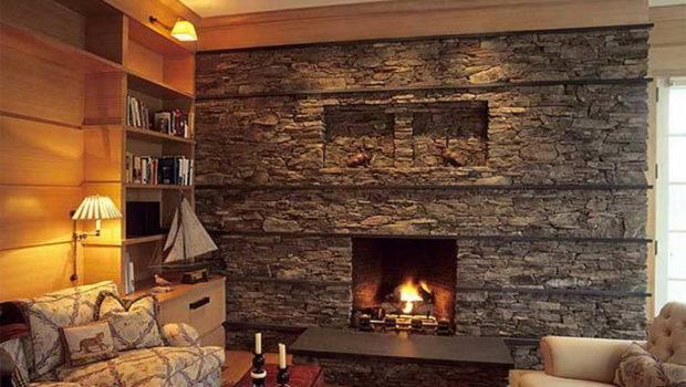 Indoor Stone Fireplace Elegant Living Room