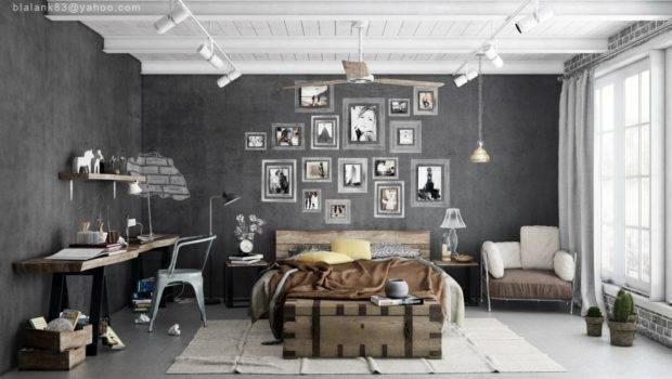 Industrial Bedrooms Interior Design Decorating Home