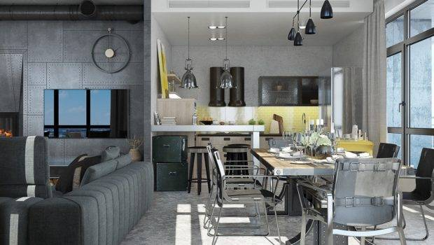 Industrial Loft Apartment Design Ideas Elegant Dark