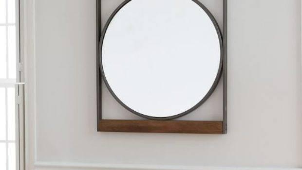 Industrial Metal Wood Round Wall Mirror West Elm