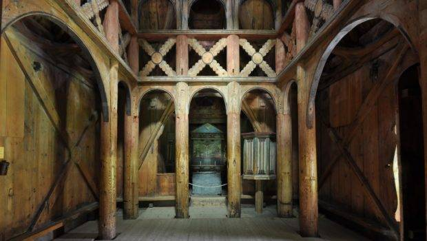 Interior Borgund Stave Church Shows More Sophisticated