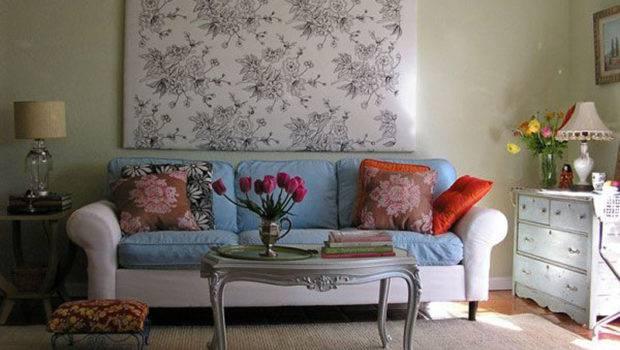 Interior Cute Living Room Design Blue White Sofa Home