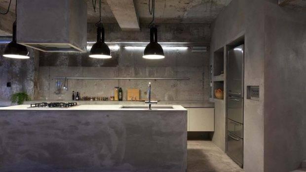Interior Design Concrete Apartment Kitchen Island