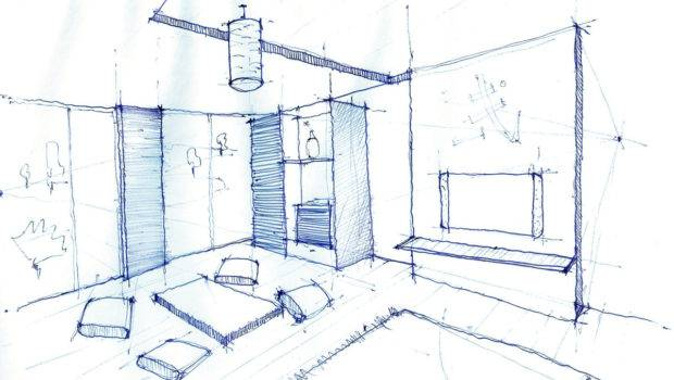 Interior Design Drawing Living Room Pen Sketch Arch Student