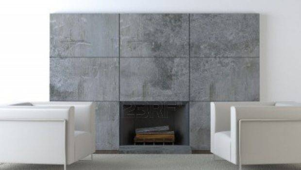 Interior Design Modern Armchairs Front Concrete Fireplace