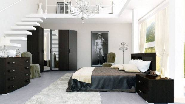 Interior Fabulous Dark Bedroom Loft Bathroom Modern Mezzanine
