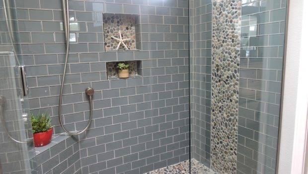 Interior Gray Glass Tile Shower Room Mosaic Stone Accent Built