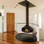Interior Swedish Residence Home Modern Floating Fireplace Design