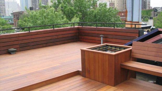 Ipe Roof Deck Fence Bench Brooklyn Heights
