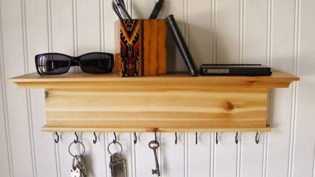 Key Holder Wall Shelf Modern Rustic Wood Barretthillwoodcraft