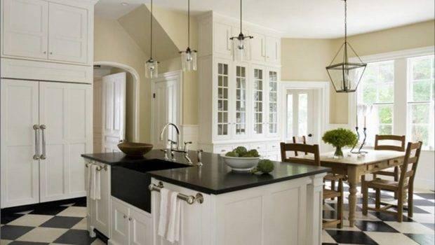 Kitchen Black White Floor Tiles Amore Linguine