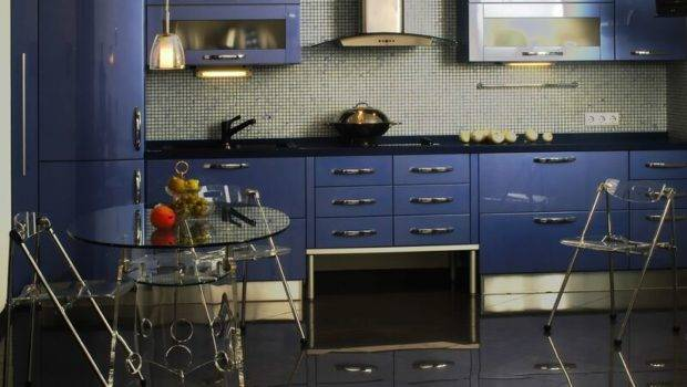 Kitchen Cabinets Modern Blue Glass Table