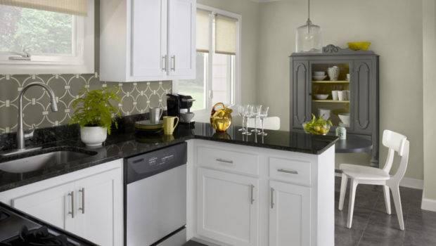 Kitchen Elegant Soft Paint Colors White Black Marble