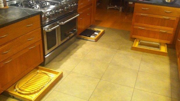 Kitchen Equipped Secret Toe Kick Storage Drawers